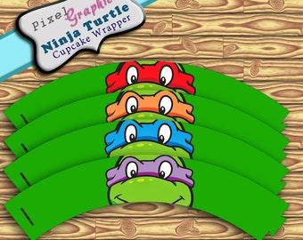 Ninja Turtle  Printable Cupcake Wrappers Instant Download