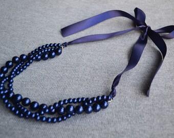 Navy blue ribbon navy blue pearl necklace,Navy blue Ribbon necklace, Wedding necklace, bridesmaid necklace. 3 rows glass pearl necklace