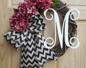 hydrangea wreath - monogram wreath -mauve hydrangea - grapevine wreath - chevron burlap - housewarming-wedding-rusticg