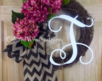 Mauve hydrangea - spring wreath - summer wreath - hydrangea wreath - easter wreath - mothers day - grapevine wreath - housewarming