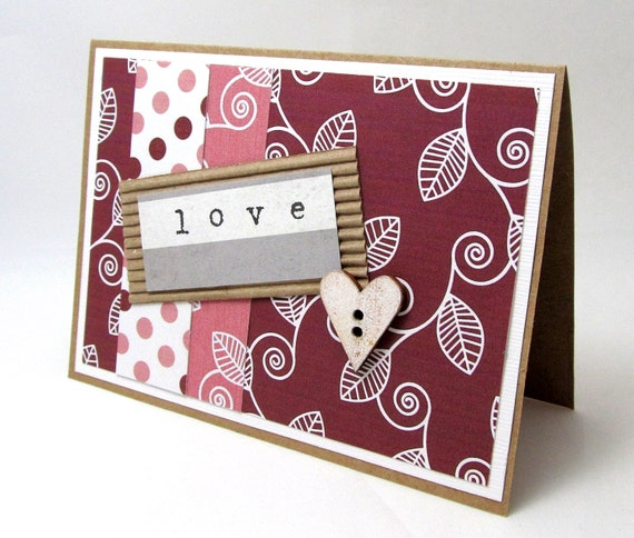 Love Card - Valentine's Day Card - Heart - Rustic Style - Marsala - Pink - Blank Card - Hand Stamped - Kraft Card - Striking Color