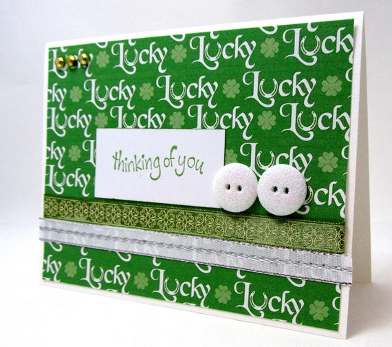 St. Patrick's Day Card - Thinking of You - Lucky - St. Patrick's Day - Green and White - Gold Accents - Blank Card - Sparkling Accents