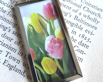 Tulips and Poetry Book Page Double-Sided Pendant Frame