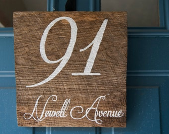 Custom House Number Barn Wood Welcome Sign