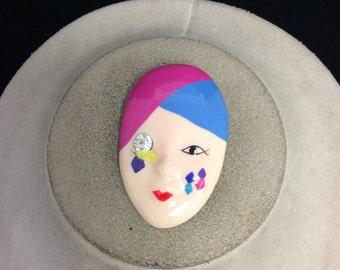 Vintage Colorful Plastic Face Pin