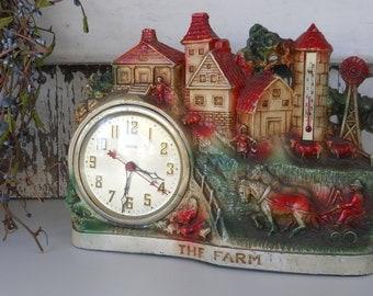 1940's / 50's United Clock Corp. ~ Vintage Clock ~ THE FARM ~ Made in USA ~ Farm Clock ~ #55