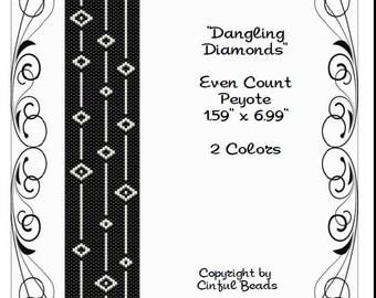 Peyote Bracelet Pattern, Black and White Geometric Design using Miyuki 11/0 Delica beads
