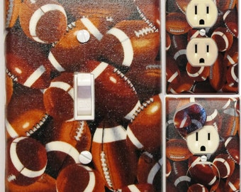 Footballs all over Light Switch and Outlet Covers