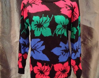 Vintage 1980s Hibiscus Floral Pattern Womens Sweater