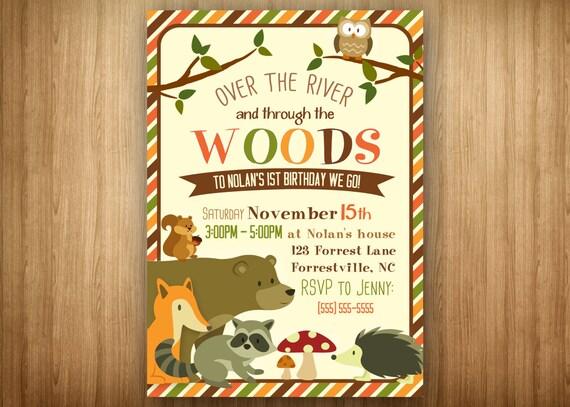 Woodland Forest Animal Birthday Invitation Shower Brown Orange Stripe Fox Bear
