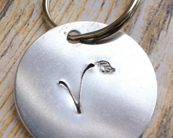 V for vegan handstamped keyring / keychain with leaf detail