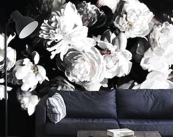 "Bouquet of Peonies, Dark Floral Mural, Floral Wallpaper - 150"" x 108"""