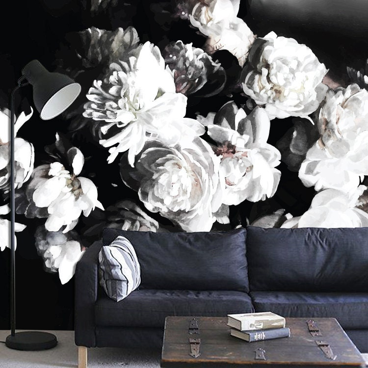bouquet of peonies dark floral mural floral wallpaper