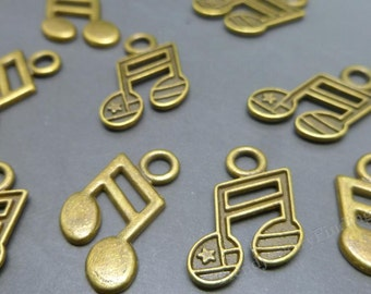BULK - Antique Bronze Music notes CHARMS - 8th note - Musician Charms Wholesale -MC0301