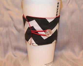 Chevron and Red  Reversable Coffee Cozy