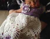 Handmade Cotton Crochet Baby Girl Dress, Purple Baby Summer Collection 0-18 Months, baby shower gift
