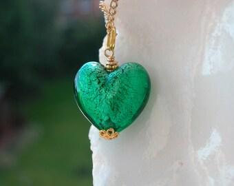 Green Venetian Murano Glass Necklace