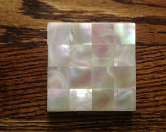 Vintage Gold Tone Mother of Pearl Compact