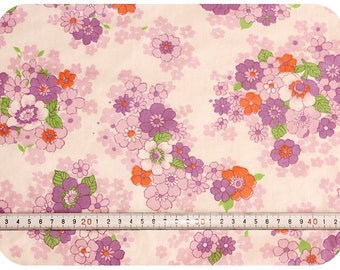 Floral retro vintage fabric - purple, orange and green
