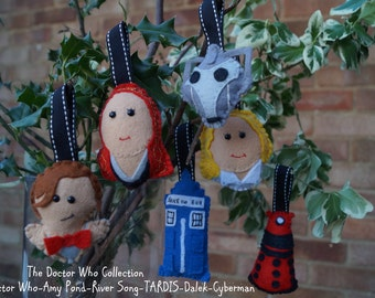 Handmade Doctor Who Character Decorations - Christmas Tree/Bunting - Doctor Who/River Song/Amy Pond/Dalek/TARDIS/Cyberman