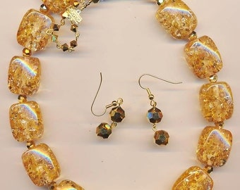 Necklace and earring set made with my favorite vintage lucite beads of all - clear slightly amber color with lots of sparkle