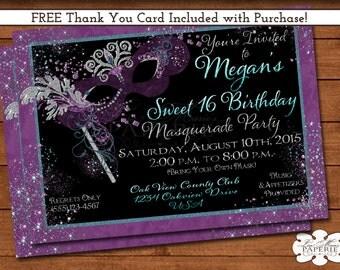 mardi gras invitation, masquerade party invitation, sweet 16 masquerade birthday invite,  - DIY PRINTABLE - FREE Thank You Card