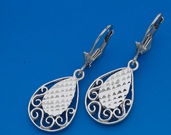 Sterling Silver teardrop earrings with fleur de lis leverbacks.
