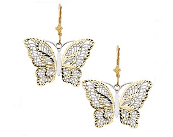 14K Two-Tone Butterfly Earrings, Butterfly Earrings, Butterfly Jewelry, Gold Butterfly, Two-Tone Butterfly, Womens Jewelry, Butterfly