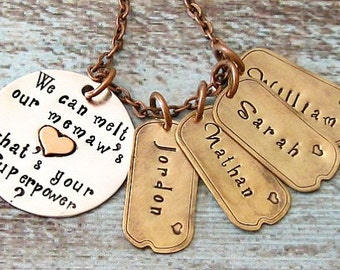 Memaw, Grandma Superpower Personalized Hand Stamped Sterling Silver Necklace - 4 Four Names