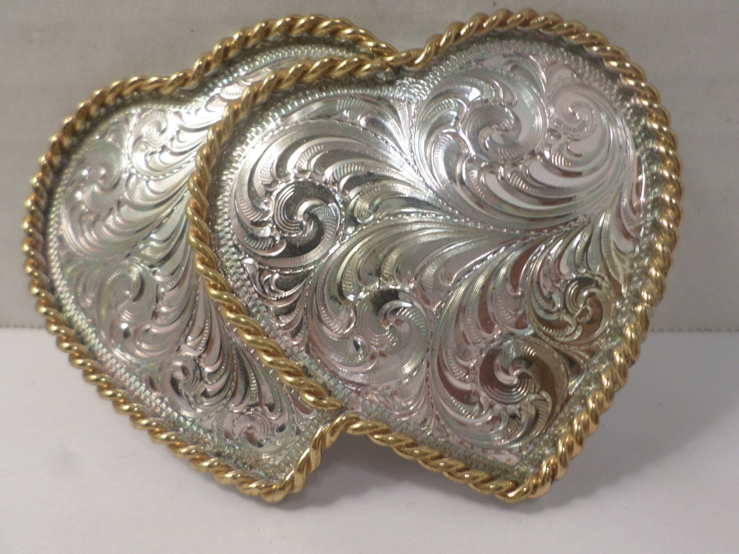 Montana Silversmiths Silver Tone Etched Double Heart Silver