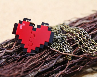 Pixel Heart Necklace - Couple Pixel Heart Necklace