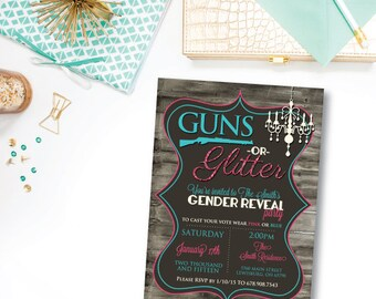 Guns or Glitter Gender Reveal | Digital File