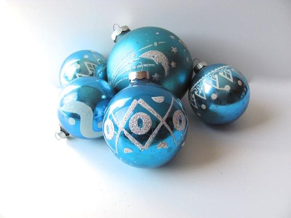 Vintage Christmas Ornaments Blue Stencil Christmas Tree