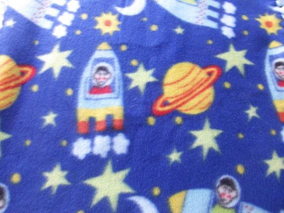 Space theme astronaut blanket rocket ship outer space boys for Outer space fleece