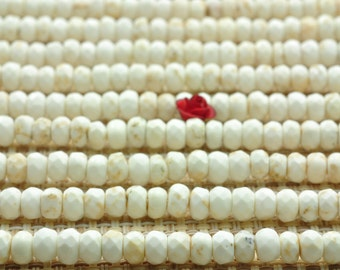 110 pcs of  Natural White Turquoise faceted rondelle beads in 3x5mm (03200#)