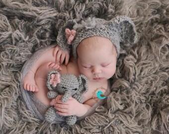 Newborn knit elephant bonnet