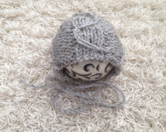 KNITTING PATTERN - Newborn cable knit round back bonnet pattern