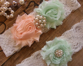 Wedding Garters / Lace Garter / Mint / Soft Peach/ Bridal Garter / Toss Garter / Vintage Inspired