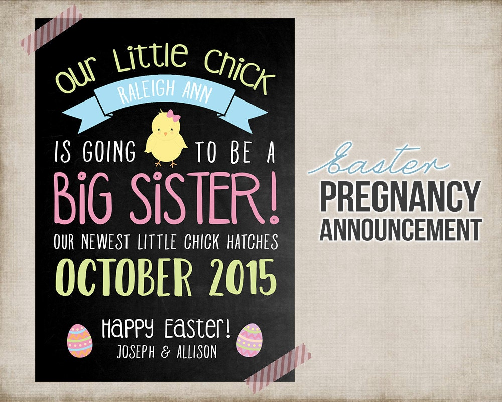 Easter Big Sister Pregnancy Announcement Printable Card Sign – Baby Announcement Cards Free