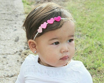 Baby Heart Headband... heart headbands... Valentines Headband... Ombre Heart Headband... pink baby headband READY TO SHIP