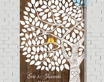 Rustic Guest Book Alternative - Wedding Sign In - Faux Wood Print - Guestbook - Wedding Tree Print - Wedding Poster - Wedding Print - W3