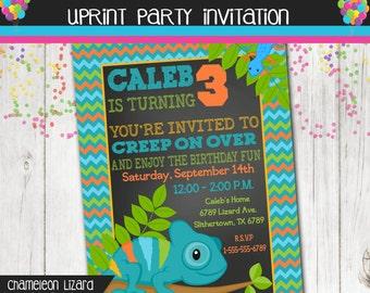 Chameleon Lizard Invitation - Reptile Invitation - Birthday - Printable - Personalized