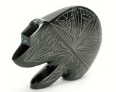 Zuni Pueblo Native American Indian Fetish Etched Black Marble Bear by Jonathan Natewa