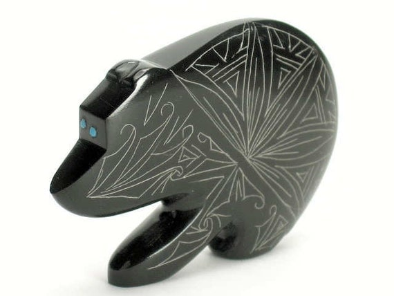 Zuni Pueblo Native American Indian Fetish Etched Black Marble