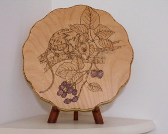 Deer Mouse With Blackberries Woodburning Pyrography