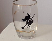 Wicked Witch on Broomstick Glass / Halloween / Spooky 50's Vintage