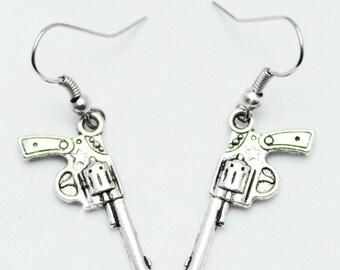 Old Southwest Style Revolver Gun Sterling Dangle Earrings