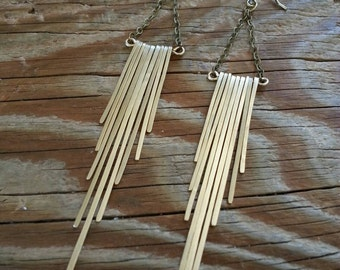 Brass fringe earrings