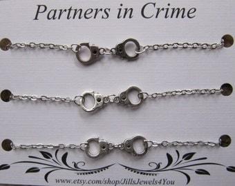 Triple Partners in Crime Bracelet with handcuff charms - 3 Friendship Bracelets - Best friend bracelet - BFF gift - Best Friend gift