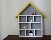 Handmade Wooden Display House- storage, shelving unit. Grey and white, yellow roof.